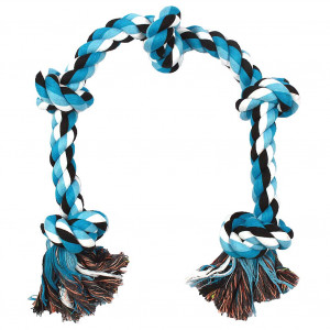 BLUEISLAND Dog Rope Toys for Aggressive Chewers Tough Rope Chew Toys for Large and Medium Dog 3 Feet 5 Knots Indestructible Cotton Rope for Large Breed Dog Tug of War Dog Toy Teeth Cleaning