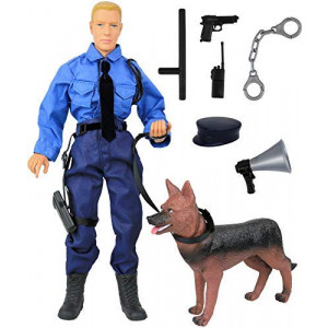 """Click N' Play CNP30619 Police Force Unit, Officer with Dog 12"""" Action Figure Play Set with Accessories, Brown/A"""