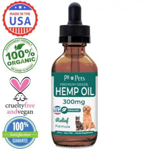 Full Spectrum Hemp Oil for Dogs and Cats (300mg) - Organically Grown and Made in USA - Pet Relief Formula Relieves Anxiety, Supports Hip and Joint Health, Naturally Relieves Pain, Herbal Supplement