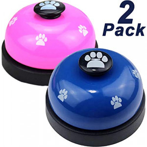 Joofanda Pets Training Bell 2 Pack Potty Training Bell Chromed Polished Stainless Steel with 2 Free Non-Slip Silicone Pad for Dog Bell, Service Bell, Desk Call