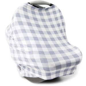 Stretchy 4-in-1 Carseat Canopy   Nursing Cover   Shopping Cart Cover   Infinity Scarf- Grey Plaid Print   Best Baby Shower Gift for Girls   Fits Most Infant Car Seats   Great for Breastfeeding Moms