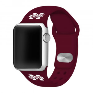 Affinity Bands Mississippi State Bulldogs Silicone Sport Band Compatible with Apple Watch - Band ONLY (42mm/44mm)