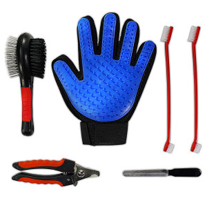 6-in-1 Pet Grooming Kit - Pet Hair Remover Tool Set for Dog, Cat, Horse | Deshedding Glove, Fur Brush, 2 Toothbrushes, Nail Clipper and File | Professional Manual Products for Small and Large Animals
