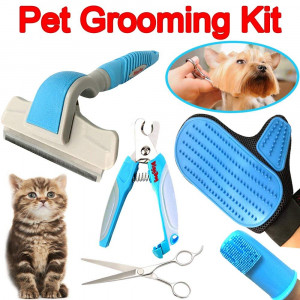 Pet Dog Grooming Kit Supplies - Professional Deshedding Brush, Grooming Massage Glove for Cats and Dogs, Small or Large Dog Nail Trimmer Clippers, Finger Toothbrush, Dog Grooming Shears or Scissors
