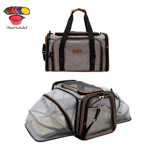 """Dog Carrier Pet Carrier for Cats - Cat Carriers for Medium Cats - Dog Carriers for Small Dogs - Small Dog Carrier - Airline Approved Pet Carrier - Soft Expandable Kennel Crate for Pets 18""""x11""""x11"""""""