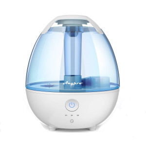 Anypro Cool Mist Ultrasonic Humidifier for Bedroom with with 360 Nozzle, Whisper-Quiet Operation, Automatic Shut-Off and Night Light Function Optional 3-Timing Settings