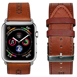 OGGO for Apple Watch Band 42mm 44mm - Premium Genuine Leather Classic Buckle Vintage Retro Strap Bands Wristband Replacement for Apple Watches iWatch Series 4 3 2 1 Sport Edition  Brown