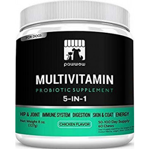 PawWow 5-in-1 Dog Vitamins and Probiotics Supplements for Hip, Joint and Immune System Health - Multivitamins for Senior Dogs - Puppy Multi Vitamin Supplement for Skin, Coat and Digestive Health - 60 Chews