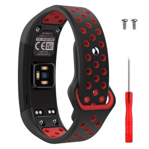 MoKo Watch Band for Garmin Vivosmart HR, Soft Silicone Adjustable Replacement Watch Band for Garmin Vivosmart HR Sports Smart Watch, Small Size - Black and Red