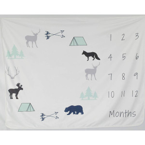 "Milestone Baby Blanket for Infant and Newborn Photography | Large 60"" x 42"" Watch Me Grow Memory Blankets for First Year Pictures Every Month 
