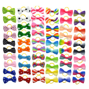 YCSJPET Pet Hair Bows, Kitten Puppy Horse Headdress Grooming Accessories Dog Hair Bows with Rubber Bands