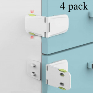 [4 Pack] Cabinet Locks Child Safety, Baby Proofing Cabinet Latch for Kitchen Storage Doors, Drawers, Cupboard, Oven, Refrigerator by QJQBMAI(WhiteandGreen)