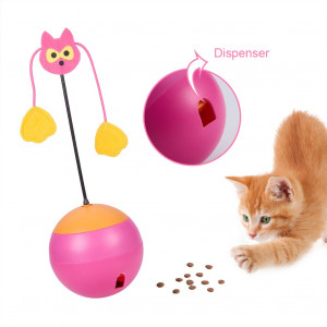 EEE ELECRELIVE Interactive Cat Toy Tumbler Chaser Light Food Dispenser 3 in 1 Multi Function Automatic Spinning Cat Toy Ball