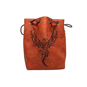 Brown Leather Lite Large Dice Bag with Phoenix Design - Brown Faux Leather Exterior with Lined Interior - Stands Up on its Own and Holds 400 16mm Polyhedral Dice