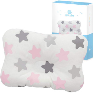 Baby Head Pillow for Newborn - Star Design, Breathable Mesh Organic Cotton, Helps Prevent Flat Head Syndrome