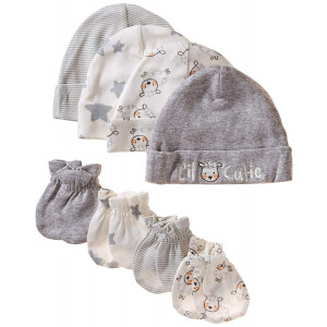 Gerber Baby 8-Piece Organic Cap and Mitten Set