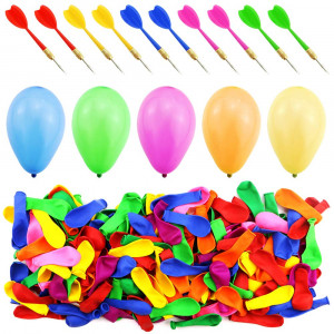 WFPLUS 500 Pcs 6 Inch Assorted Color Latex Dart Balloons Water Balloon with 10 Pcs Plastic Darts for Outdoor Games  Carnival Pop Party