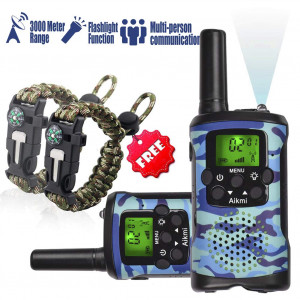 Kids Walkie Talkies Set - Walkie Talkies for Kids 2 Way Radio Toy Birthday Gift for 4-8 Year Old Boys and Girls Fit Games, Adventure and Camping. Strap and Paracord Bracelet included.(Blue Camo)