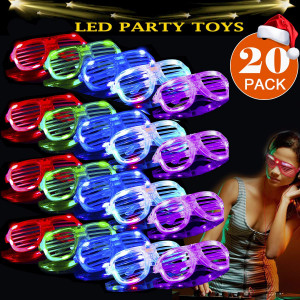 Hamag 2019 St. Patrick's Day Party Supplies 20 Pack LED Glasses,5 Color Light Up Plastic Shutter Shades Glasses Shades Sunglasses for Adults Kids Glow in The Dark Party Favors Neon Party Supplies