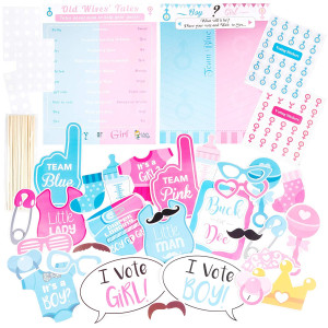 Large Baby Shower or Gender Reveal Photo Booth Props and Two Gender Reveal Game Posters with Boy or Girl Voting Stickers
