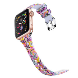 Huishang Apple Watch Bands 38mm 40mm, Soft Skinny Silicone Band Replacement Strap for Apple Watch Series 4 3 2 1 Sport Edition Accessories (Painting)