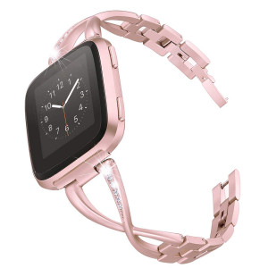 Reatch Stainless Steel Bands Compatible with Fitbit Versa for Women, Metal Replacement Band with Rhinestones Diamond, X-Link Designed for Versa Watch (Rose Gold)