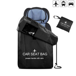 UMJWYJ Large Gate Check Travel Luaage Bag with Backpack Shoulder Straps, Lightweight Baby Car Seat Storage Bag Stroller Carrier Best for Airplanes Trains (Black)