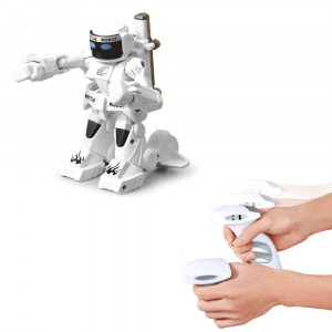 Go On 123 Remote Sensing Battle Robot 2.4G RC Competitive Model Toy with LED Light and Sounds for Kids (White)