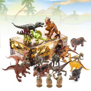 Kids 20 Packs Dinosaurs Toy Play Set for Toddlers, Boys Educational Toy Realistic Looking 6 to 10 Assorted Dino Figures with Dinosaur Eggs, Tyrannosaurus Rex, Triceratops for Party Favors and Gift
