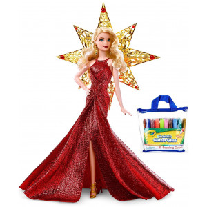 MSINV Barbie 2017 Holiday Doll, Blonde Hair, Bundle with Bonus Glitter Glue 25 Count Pouch