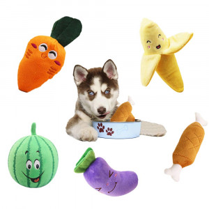 WSXUS Small Plush Dog Toys Set, Squeaky Fruit and Vegetable Plush Dog Toys, 5 Pack Chew Pet Toys for Puppies Small Medium Pets