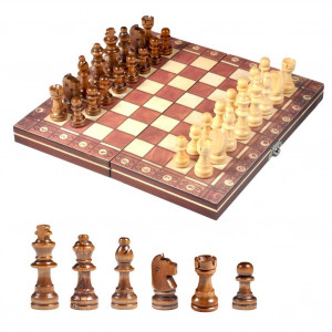 Dilwe Magnetic Chess Set, Wooden Folding Chess and Checkers Board Game Educational Toys for Kids and Adults
