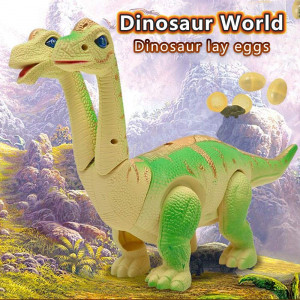 Electronic dinosaur toys,Walking Brachiosaurus dinosaur toy lay eggs while walking Figure with Swinging Tail Action, Roaring Sounds and LED Lights   Battery Operated Dinosaurs Gift for Kids Boys Girls