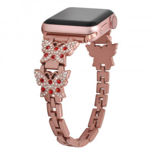 Watch Strap Wekity Bracelet iWatch Small Butterfly Decoration Stainless Steel Metal Chain Steel Belt iwatch Band Feminine Universal Bracelet, Best Gifts for Valentines' Day etc (Rose Gold, 38mm)