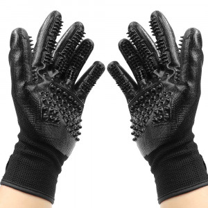 ONEVER Pet Grooming Gloves, Efficient Deshedding Glove with Adjustable Wrist Strap Perfect for Dogs and Cats with Long and Short Fur (Black)