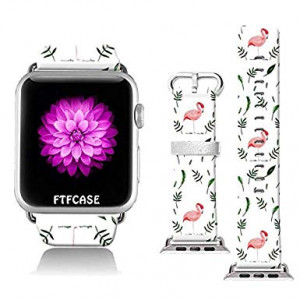 FTFCASE Compatible with Apple Watch Band 38mm 40mm, Soft Leather Replacement Sport Bands Compatible with iWatch 38mm 40mm Series 4/3/2/1 - Flamingos Tile Design