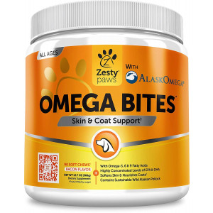 Zesty Paws Omega 3 Soft Chews for Dogs - with AlaskOmega Fish Oil for EPA and DHA Fatty Acids - for Shiny Coats and Itch Free Skin - Natural Dog Hip and Joint Support + Promotes Heart and Brain Health