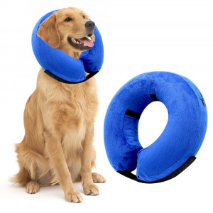 VST Comfortable Protective Inflatable Cone Collar for Dogs Cats, Adjustable Soft Pet Recovery Cloud E-Collar
