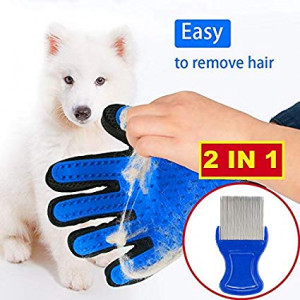 Pet Grooming Glove Flea Comb - 2 in 1 - Gentle Hair Remover Brush Mitt for Deshedding and Lice Tick Control for Cats Dogs Rabbit Horses - Pet Tools Supplies Choose from 4 Colors: Blue Green Pink Red