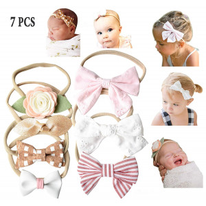 California Tot Soft and Stretchy Nylon Headbands for Newborn, Baby, Toddler, Girls, Mixed Set of 4 or 7