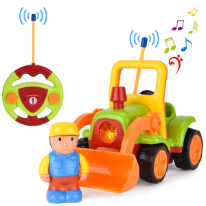 GotechoD Remote Control car, Cartoon RC Bulldozer with Music and Lights, Radio Control Toy for Baby Toddlers Kids and Children, Perfect for Holiday Birthday Presents(Green)