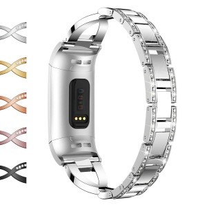 Wekin Stainless Steel Metal Bands Compatible Fitbit Charge 3, Bling Rhinestone Replacement Band Bracelet Wristbands Accessories Straps for Charge3 andCharge3 SE