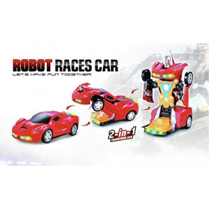 INCHOI Robot Races car Battery Operated Bump and Go Transforming Toys for Kids -Auto Transforming Auto Robots Action Figure and Toy Vehicles - Realistic Engine Sounds and Beautiful Flash Lights