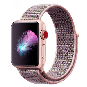 Watch Band for Apple Watch Band 38mm - Soft Breathable Nylon Sport Band Apple Watch Bands Adjustable Lightweight Replacement Band for iWatch Apple Watch Series 3 Series 2 Series 1 Nike+, Pink Sand
