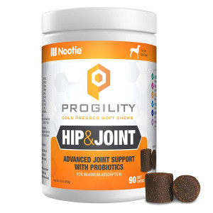 PROGILITY Nootie Hip and Joint with Probiotics for Dogs - 90 Cold Pressed Soft Chews - Advanced Joint Support, Chewable Glucosamine for Dogs with Chondroitin, MSM and Turmeric