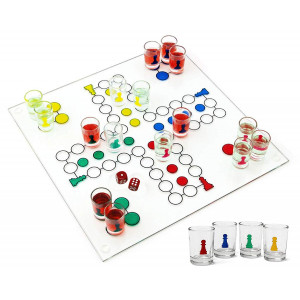 Matty's Toy Stop Ludo Drinking Game (Parcheesi) with 16 Shot Glasses, 2 Dice and Glass Game Board