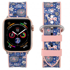 Falandi Compatible Apple Watch Bands 40mm Series 4, Sports Pattern Leather Rose Gold Pink Silicone Replacement Straps Sweatproof iwatch Series 3/2/1 Grils Women(Blue Sika, 40/38mm)