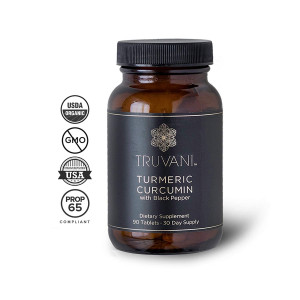 TRUVANI - Organic Turmeric Curcumin Supplement and Turmeric Root Powder - with Black Pepper for Improved Absorption   Anti-inflammatory, Joint Support and Stress Relief Supplement - 90 Vegan Tablets