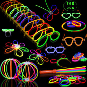 """Inifty Glow Sticks Bulk - 8"""" Glow in The Dark Light up Party Supplies Light Sticks, Glow Bracelets and Necklaces for Kids Party (Total 768 PCs 8 Color)(768 PCS)"""