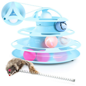 Pecute Cat Toy Tower of Tracks Cat Roller Toy with Interactive Teaser Mouse, 4 Tier Cat Tower of Track Toy with Catnip and Flash Balls